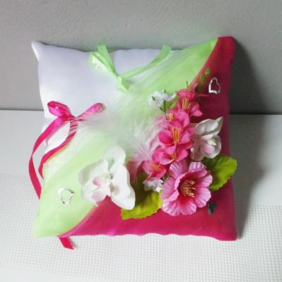 Coussin mariage champetre anis fuchsia