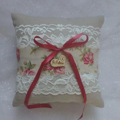 Coussin mariage champetre chic lin dentelle