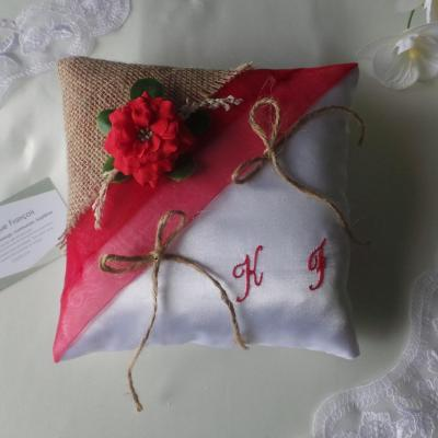 Coussin mariage champetre chic personnalise 2