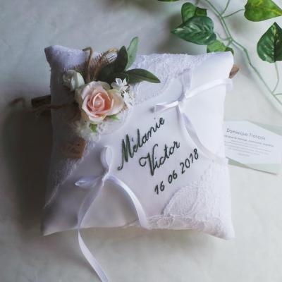 Coussin mariage champetre chic personnalisé