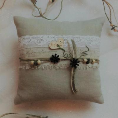 Coussin mariage champetre lin ficelle ecriture 1