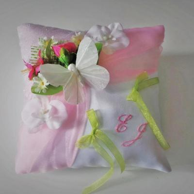 Coussin mariage champetre rose anis