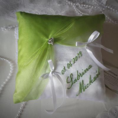 Coussin mariage chic anis blanc ou ivoire