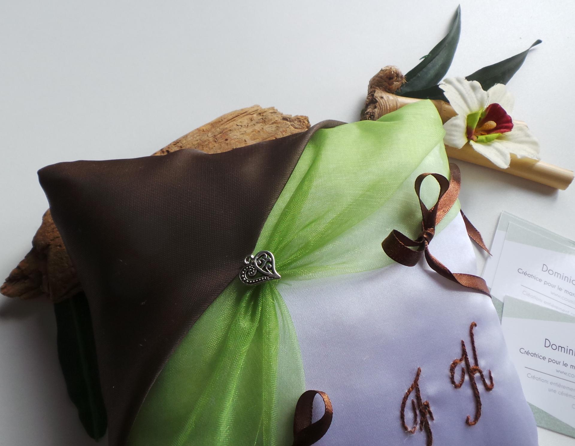 Coussin mariage chocolat anis zen nature fait main