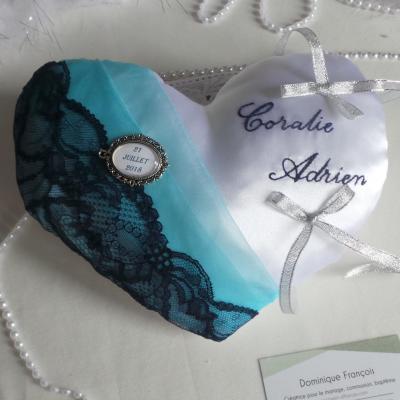 Coussin alliances coeur bleu marine turquoise personnalisé