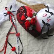 Coussin mariage coeur musique noir rouge blanc