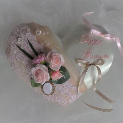 Coussin d'alliance coeur rose poudré ivoire