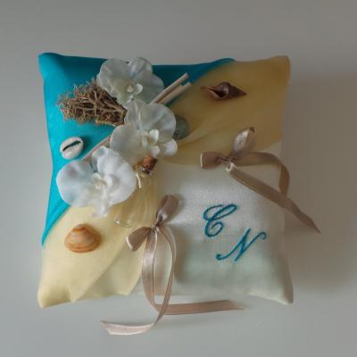 Coussin mariage exotique mer 29