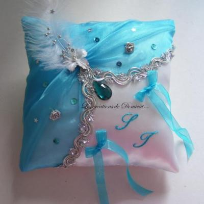 Coussin mariage oriental turquoise argent