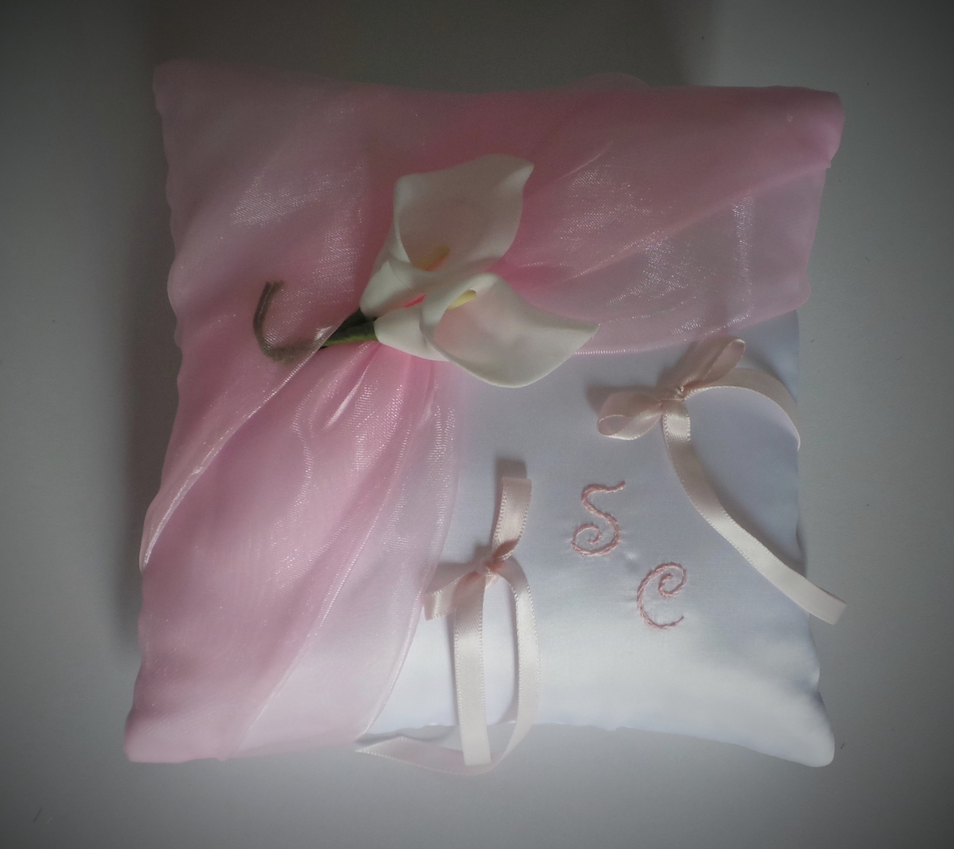 Coussin mariage rose pale