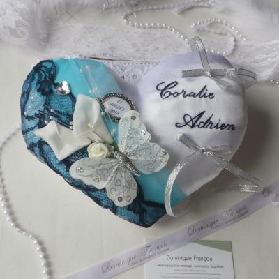 Coussin mariage turquoise bleu marine
