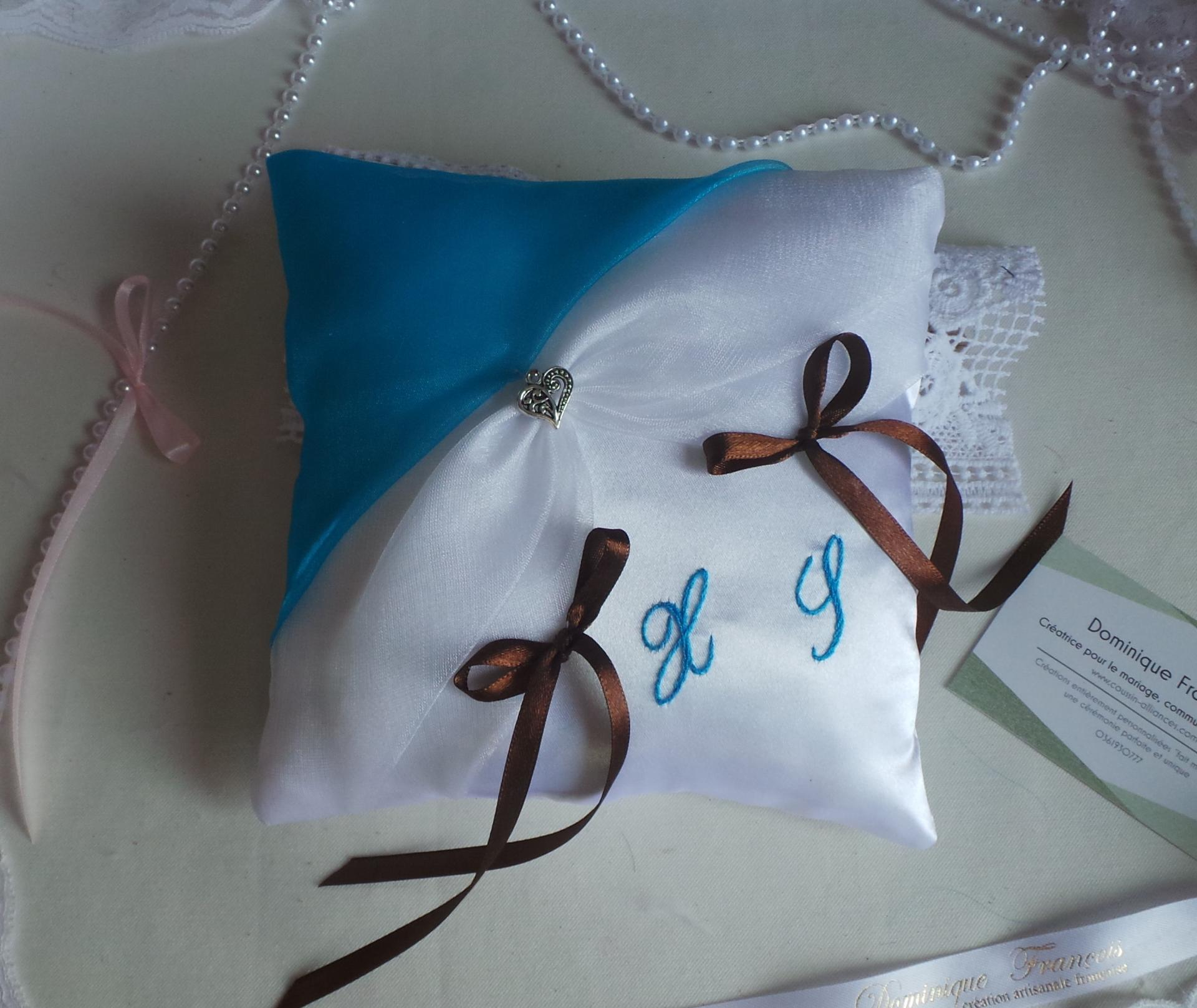 Coussin mariage turquoise chocolat 1