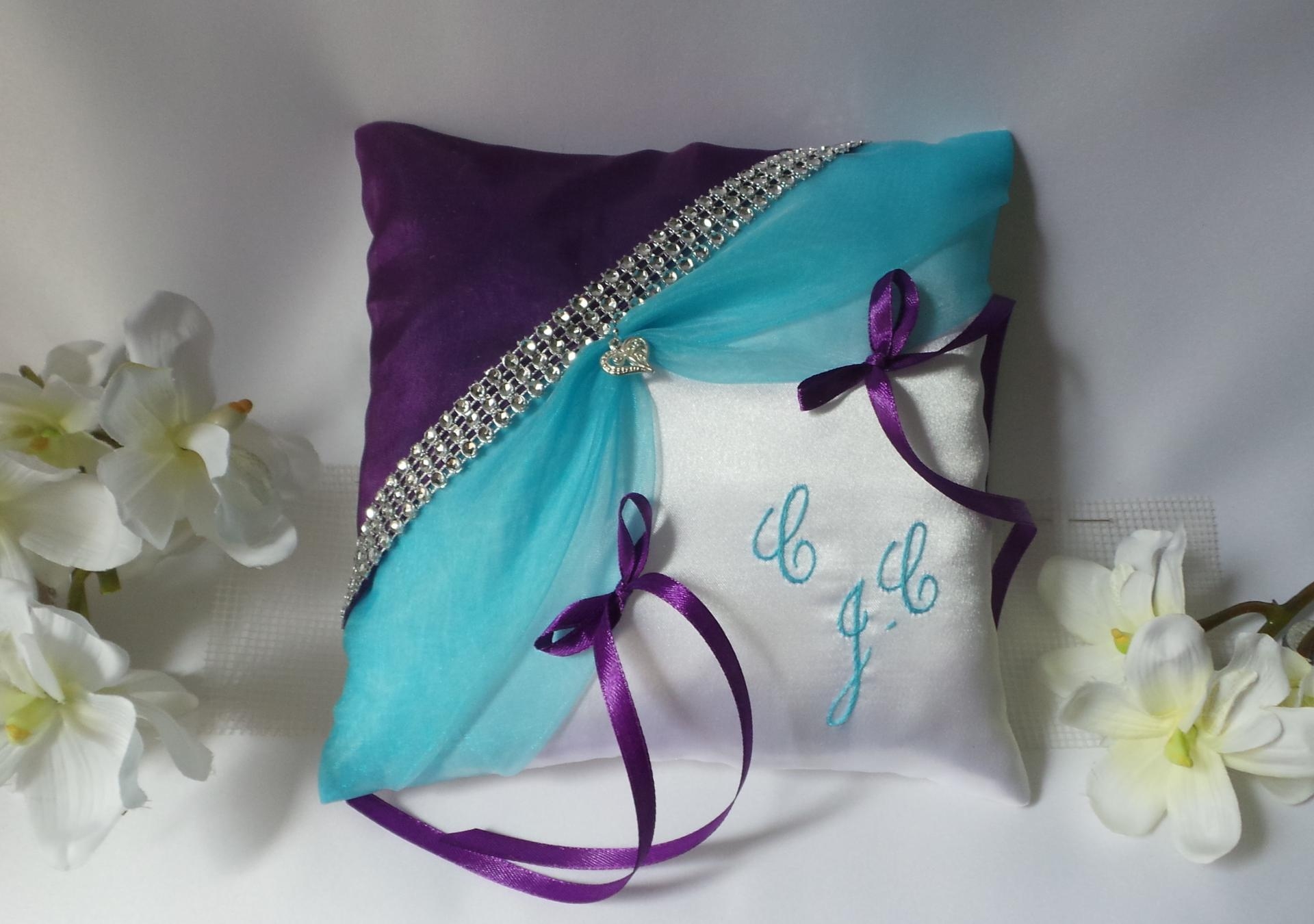 Coussin mariage violet turquoise strass 1 1