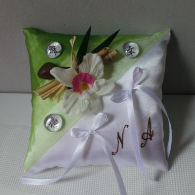 Coussin mariage zen anis