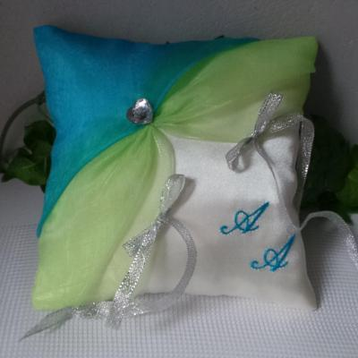 Coussin alliances mariage anis turquoise argent